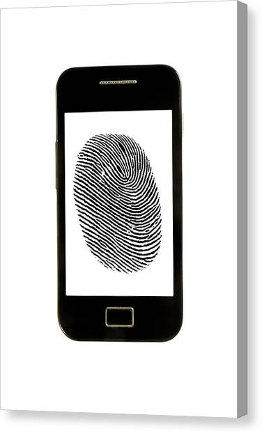 Big Brother Canvas Print - Smartphone With Finger Print by Victor De Schwanberg