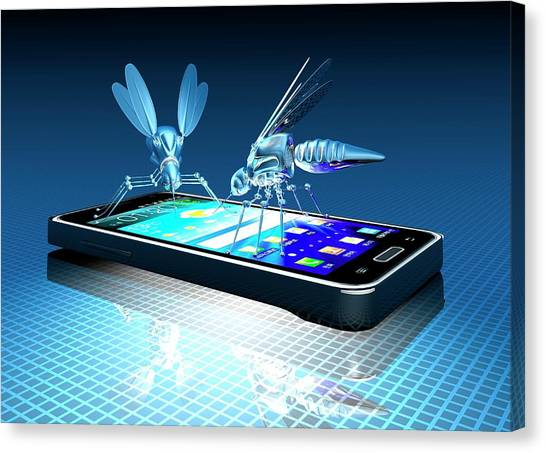 Smartphone With Nano Bugs Canvas Print by Victor Habbick Visions