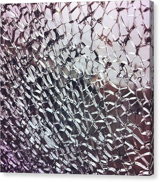 Dodge Canvas Print - #smashed #window #cracks #glass #web by Shawn Who