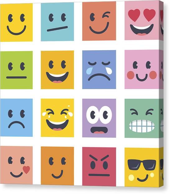 Smile Icons Canvas Print by GoodGnom