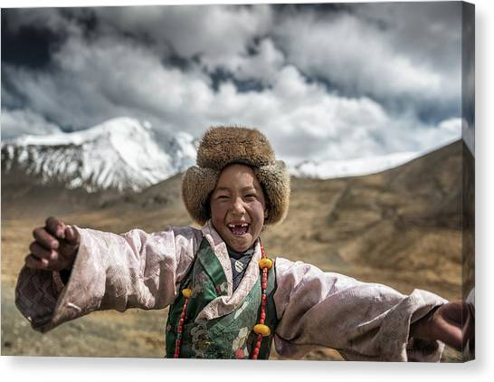 Necklace Canvas Print - Smile {tibet} by Sarawut Intarob