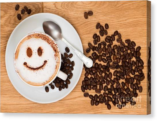Coffee Canvas Print - Smiley Face Coffee by Amanda Elwell