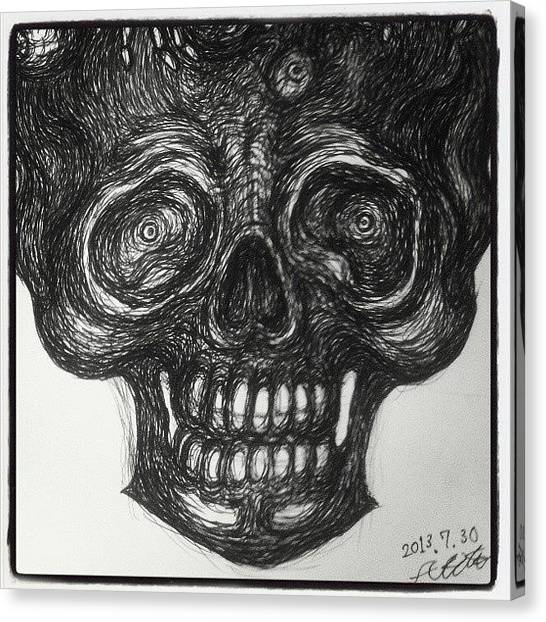 Gothic Art Canvas Print - Smily Skull by Akiko Okabe