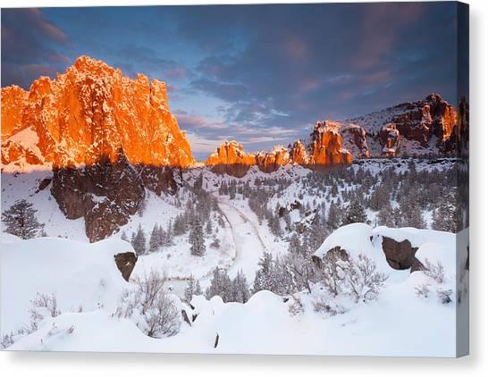 Smith Rock Snow Storm Canvas Print