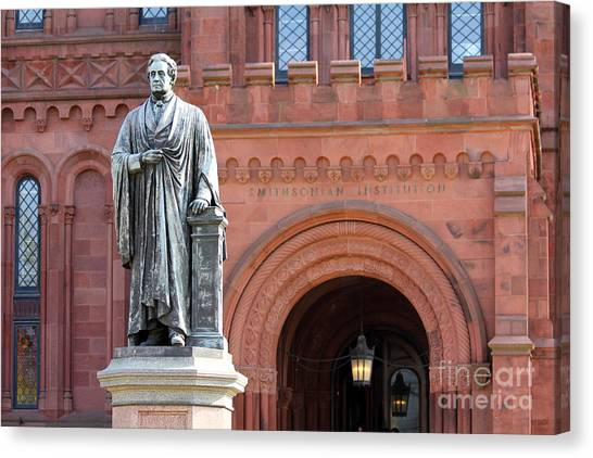Smithsonian Institute Canvas Print - Smithsonian Statue 1132 by Jack Schultz