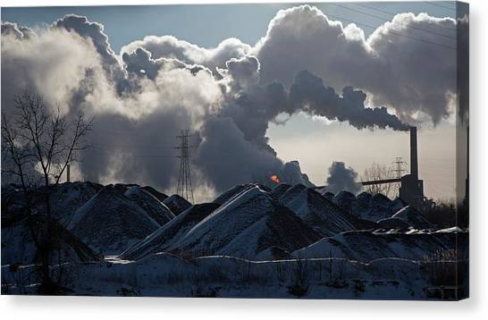 American Steel Canvas Print - Smoke Rising From A Steel Mill by Jim West