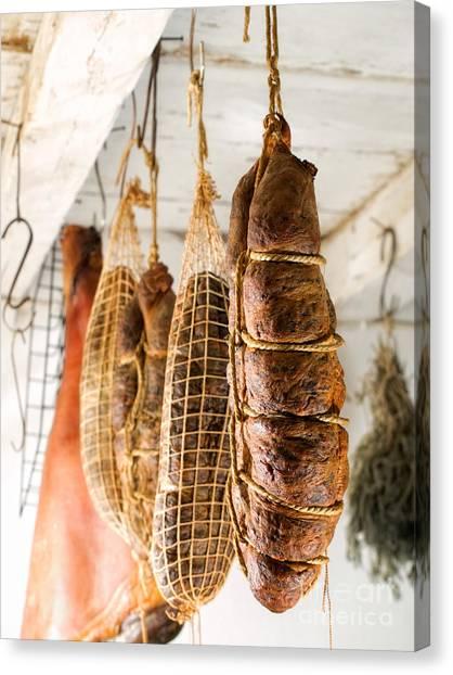 Smokehouses Canvas Print - Smoked Meat by Sinisa Botas