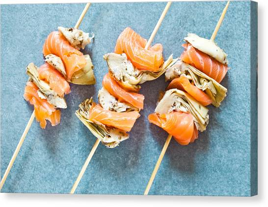 Artichoke Canvas Print - Smoked Salmon And Grilled Artichoke by Tom Gowanlock