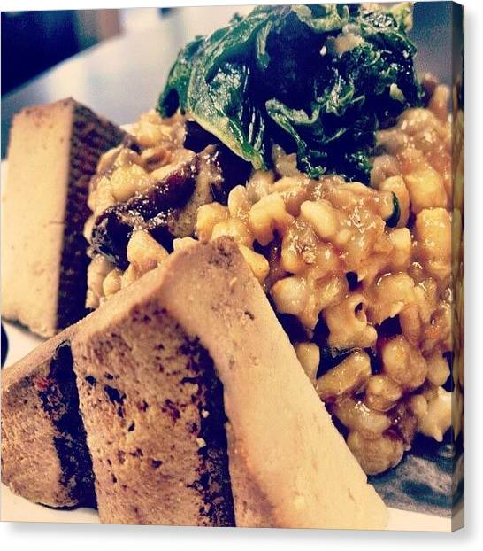 Vegetarian Canvas Print - Smoked Tofu With A Mushroom Barley by Andrea Taylor