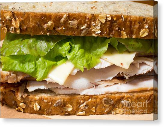 Sandwich Canvas Print - Smoked Turkey Sandwich by Edward Fielding