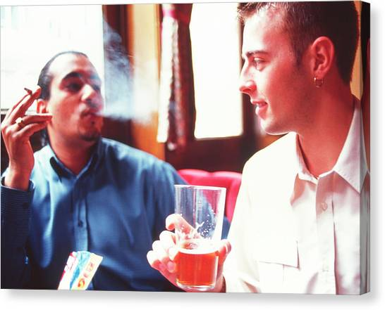 Pint Glass Canvas Print - Smoking And Drinking by Annabella Bluesky/science Photo Library