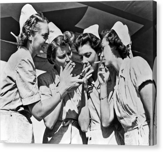 Tobacco Canvas Print - Smoking Army Nurses by Underwood Archives