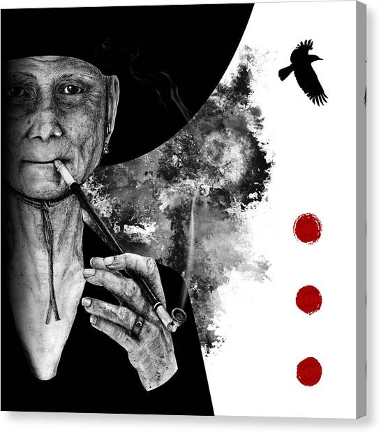 Smoking Crone Canvas Print
