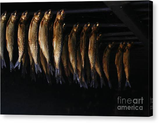Smokehouses Canvas Print - Smoking Fish by Patricia Hofmeester