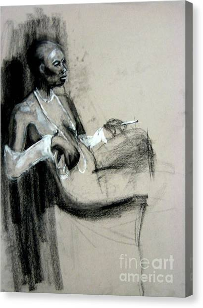 Canvas Print featuring the drawing Smoking by Gabrielle Wilson-Sealy