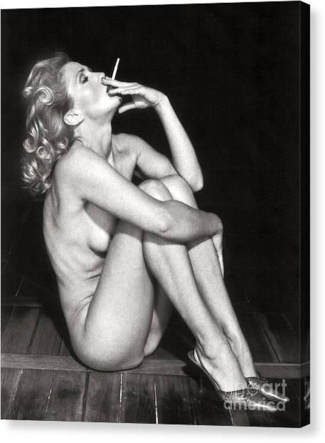 Smoking Nude  Canvas Print