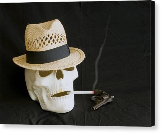 Smoking Skull  Canvas Print by Danny Jones