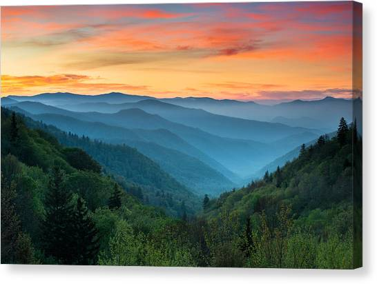 Mountain Sunrises Canvas Print - Smoky Mountains Sunrise - Great Smoky Mountains National Park by Dave Allen