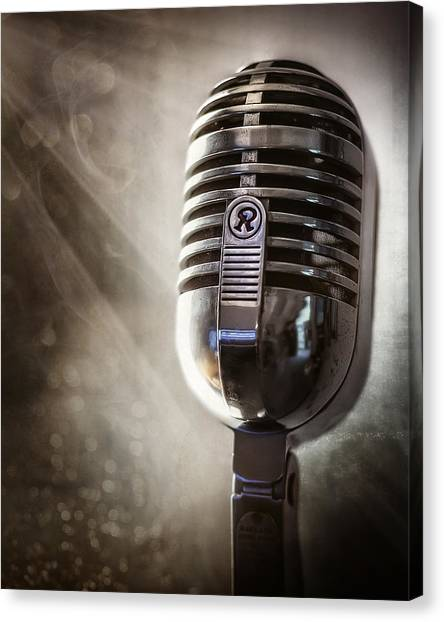 Microphones Canvas Print - Smoky Vintage Microphone by Scott Norris