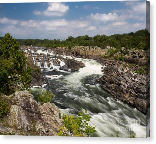 Smooth Flow At Great Falls  Canvas Print