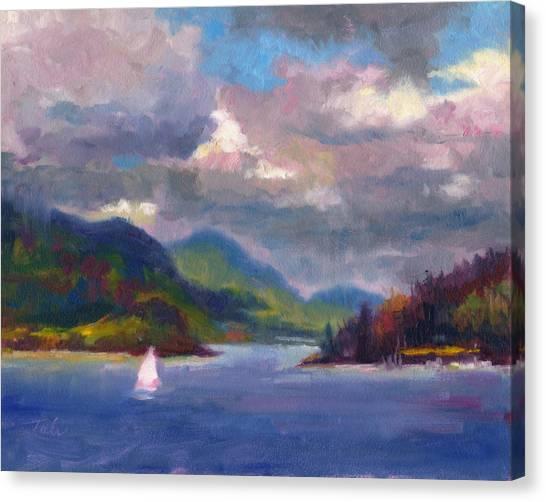Smooth Sailing Sailboat On Alaska Inside Passage Canvas Print