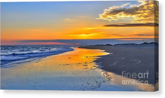 Smooth Sunset On Ocracoke Outer Banks Canvas Print by Dan Carmichael