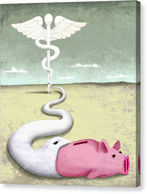 Obamacare Canvas Print - Snake Piggy Bank by Steve Dininno