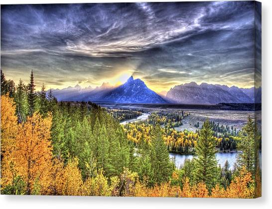 Snake River Over Look Fall Sunset Canvas Print
