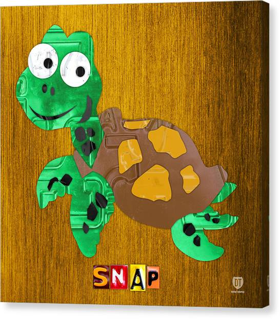 Snaps Canvas Print - Snap The Sea Turtle License Plate Art by Design Turnpike