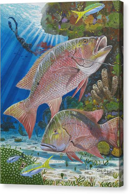 Spearfishing Canvas Print - Snapper Spear by Carey Chen