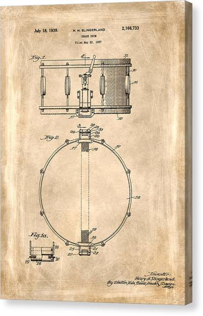 Snares Canvas Print - Snare Drum Patent 1939 by Mark Rogan