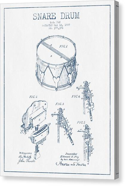 Snares Canvas Print - Snare Drum Patent Drawing From 1889 - Blue Ink by Aged Pixel