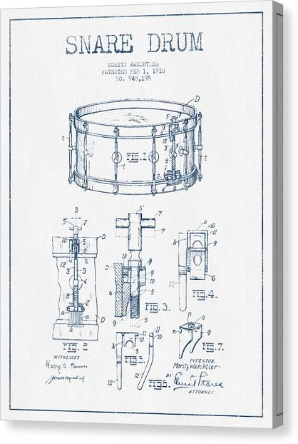 Snares Canvas Print - Snare Drum Patent Drawing From 1910  - Blue Ink by Aged Pixel