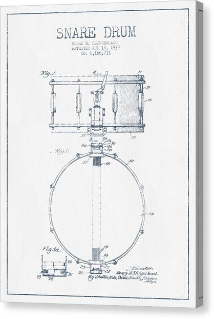 Snares Canvas Print - Snare Drum Patent Drawing From 1939 - Blue Ink by Aged Pixel