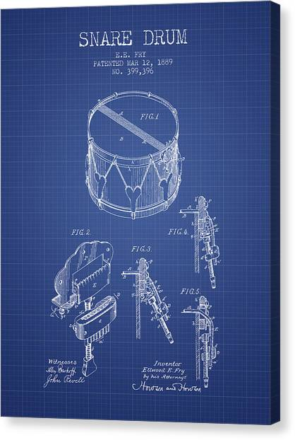 Snares Canvas Print - Snare Drum Patent From 1889- Blueprint by Aged Pixel