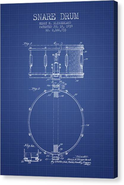 Snares Canvas Print - Snare Drum Patent From 1939 - Blueprint by Aged Pixel