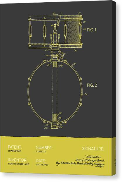 Snares Canvas Print - Snare Drum Patent From 1939 - Gray Yellow by Aged Pixel