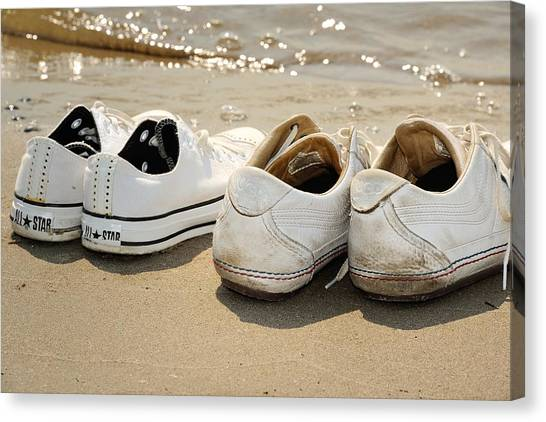 White Sand Canvas Print - Sneakers On The Beach by Frank Zunneberg
