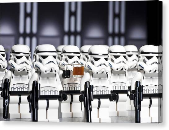 Stormtrooper Canvas Print - Sneaky Beer by Samuel Whitton