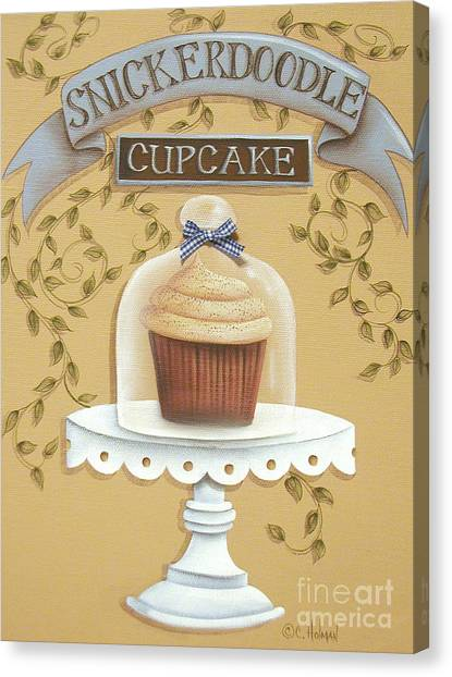 Country Kitchen Decor Canvas Print - Snickerdoodle Cupcake by Catherine Holman