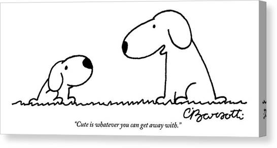 2013 Canvas Print - Dog Talks To Puppy About Being Cute by Charles Barsotti