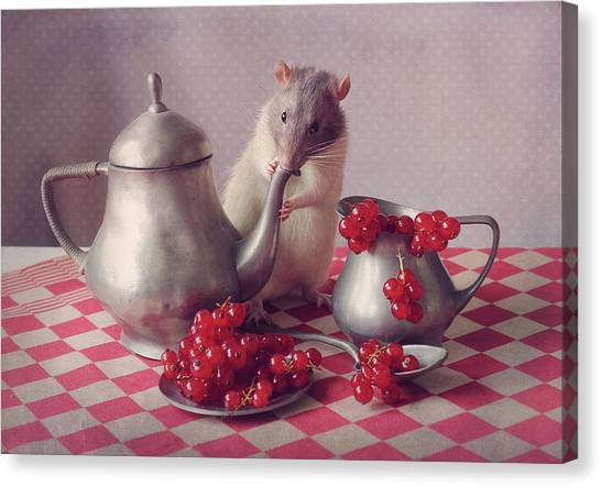 Tea Pot Canvas Print - Snoozy  (again) by Ellen Van Deelen