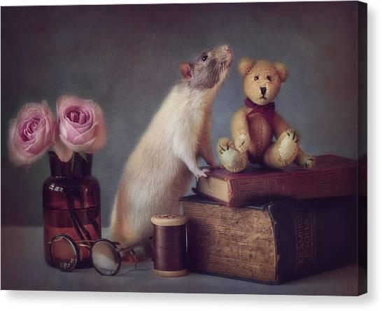 Teddy Bears Canvas Print - Snoozy And Friend by Ellen Van Deelen