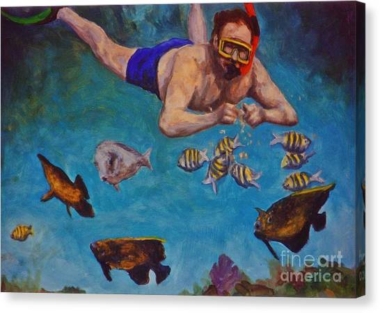 Snorkling Canvas Print - Snorkeling And Feeding The Fish by John Malone