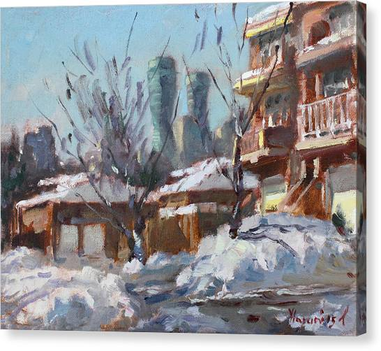 City Landscape Canvas Print - Snow And Sun by Ylli Haruni