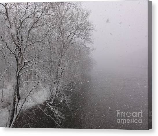 Snow At Bulls Island - 12 Canvas Print