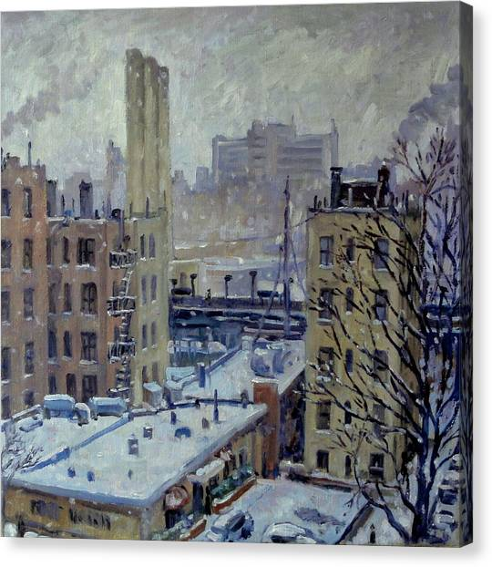 Snow At Dusk New York City Canvas Print