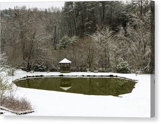 Snow At The Pond Canvas Print