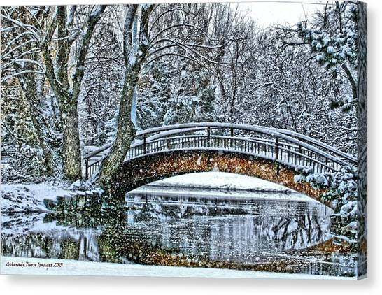 Snow Bridge Canvas Print by Rebecca Adams