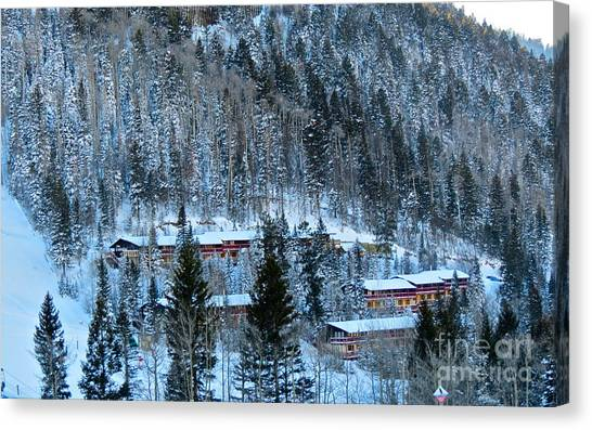 Snow Cabins Canvas Print